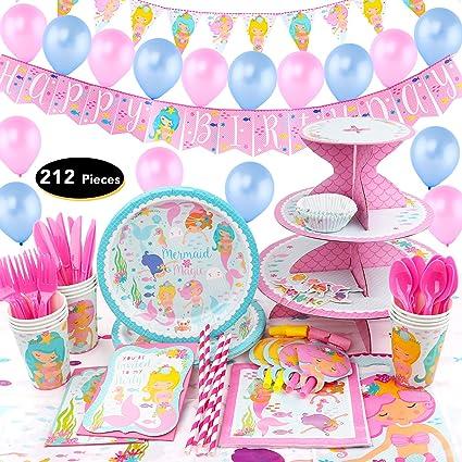 Amazon.com: 214 piezas de sirena cumpleaños, suministros ...