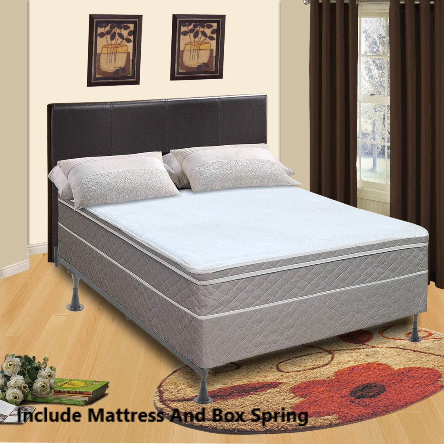 Mattress Comfort 440z-3/3XL-2 10-Inch Fully Assembled Orthopedic Back Support Plush Mattress and 8'' Box Spring/Foundation Set, Tomorrow Dream Collection, Beige Color, Twin XL