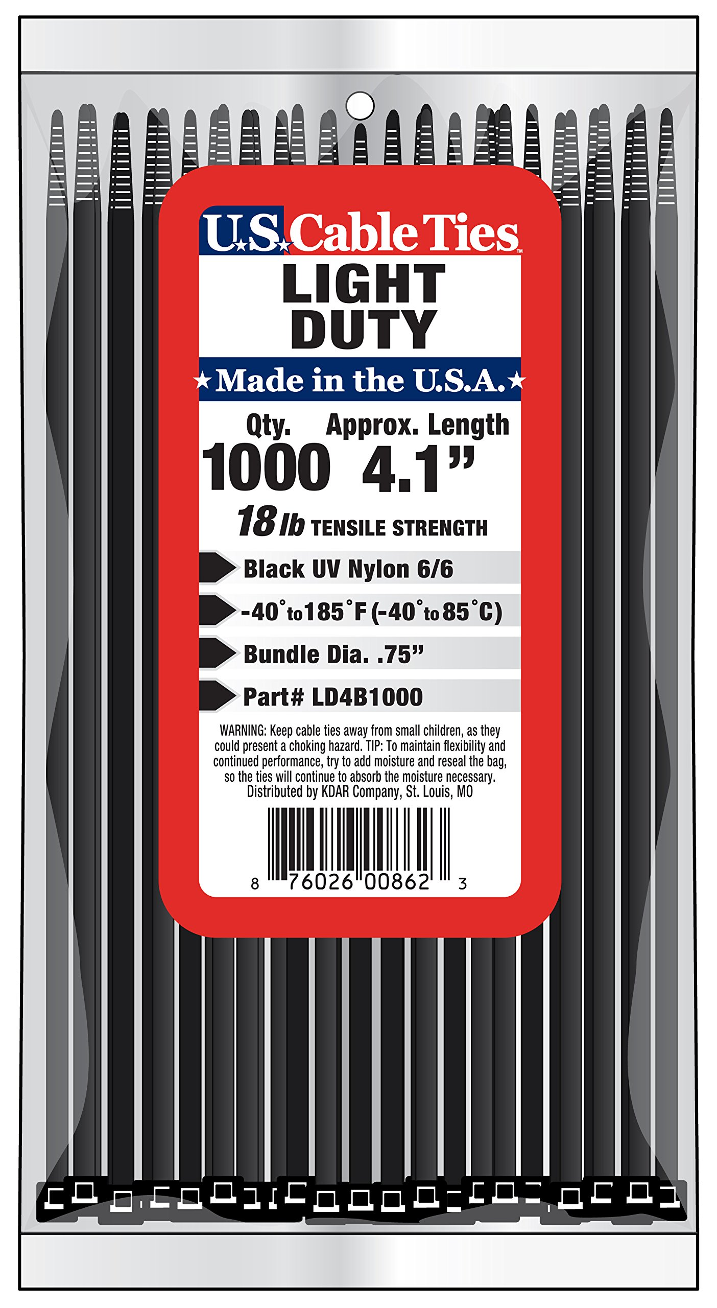 US Cable Ties LD4B1000 4-Inch Light Duty Cable Ties, UV Black, 1000-Pack by US Cable Ties