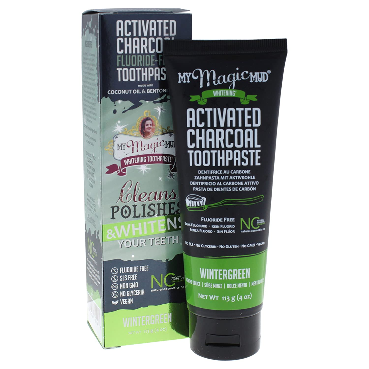 My Magic Mud Activated Charcoal Toothpaste for Whitening, Deep Cleaning, Polishing, Detoxifying, Brighter Teeth, Reduces Sensitivity, All Natural Oral Care, Non-GMO, Wintergreen, 4 oz. 868656000146
