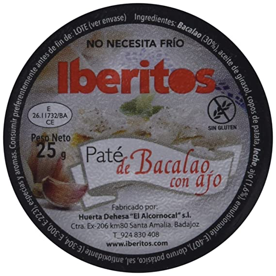 Iberitos Paté de Bacalao con Ajo - Paquete de 18 monodosis x 23 gr: Amazon.es: Alimentación y bebidas