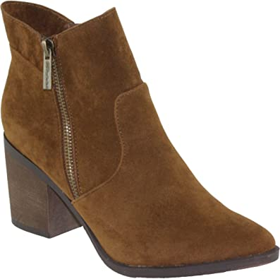 Breckelles Womens Indiana-12 Faux Suede Pointy-Toe Mid Heel Ankle Dress Booties