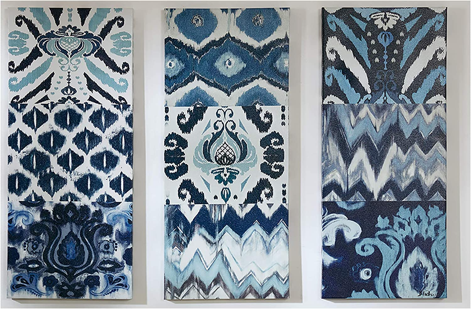 Madison Park Flourish Ikat Wall Art - Canvas Gel Coated Bohemian Painting Home Décor, Abstract Stretched 3 Piece Set Canvas Painting for Living Room, Easy to Hang Deco Box, Blue MP95C-0013