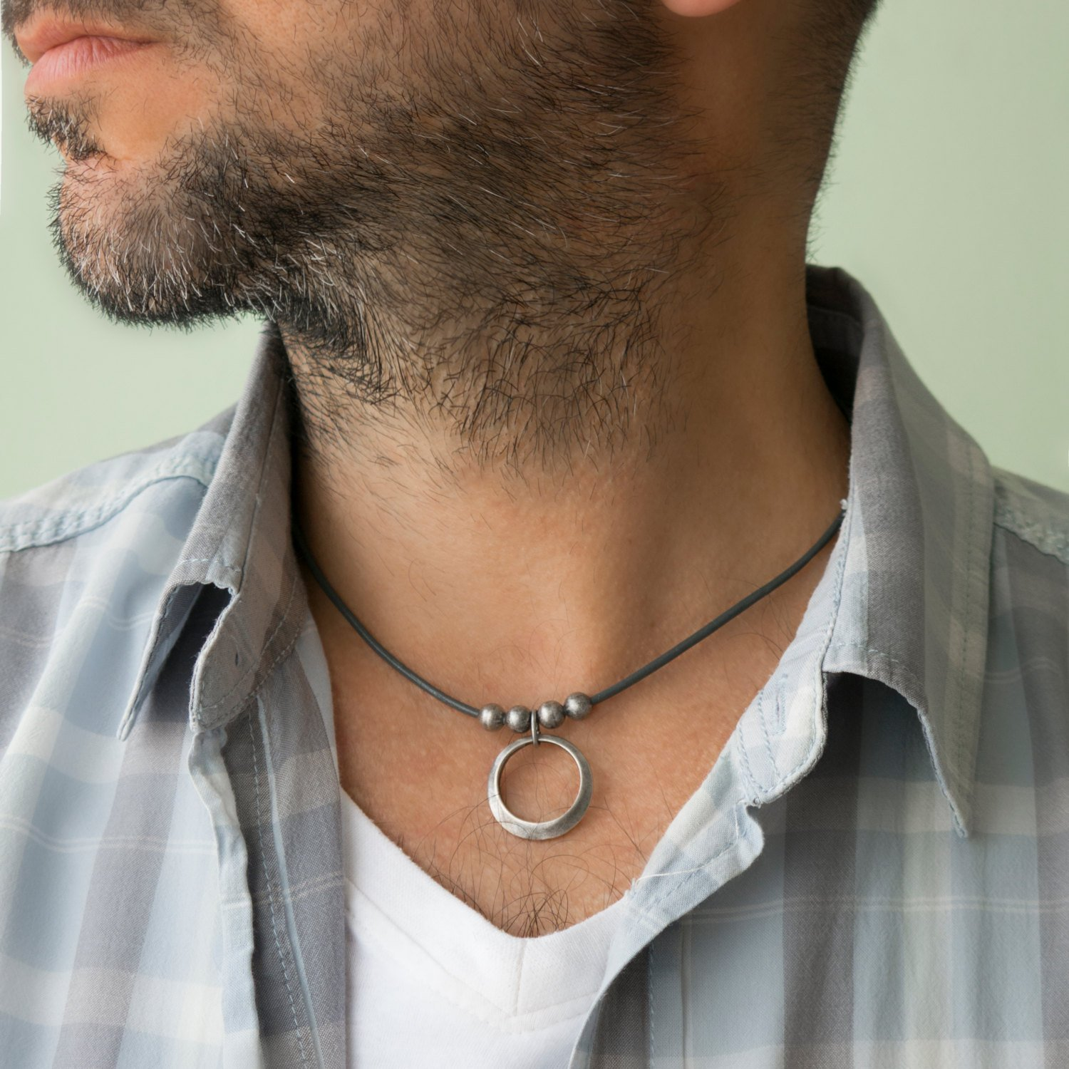 Men's Necklace - Men's Choker Necklace - Men's Leather Necklace - Men's Jewelry - Guys Jewelry - Guys Necklace - Jewelry For Men - Necklace For Men - Male Jewelry - Male Necklace