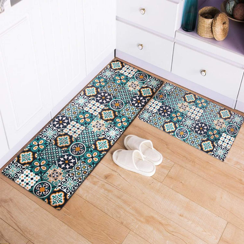 Kitchen Mat 2 PCS Cushioned Anti-Fatigue Kitchen Rug Waterproof Non-Slip Floor Mat Heavy Duty PVC Ergonomic Comfort Standing Foam Mat for Kitchen Floor Office Home Laundry, 17''x30''+17''x48'', Teal