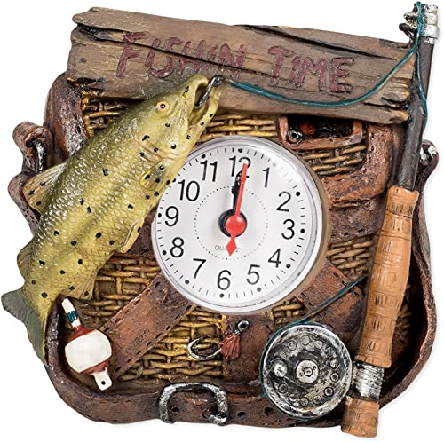 Slifka Sales Co. Fishin Time Resin Decorative Tabletop Clock