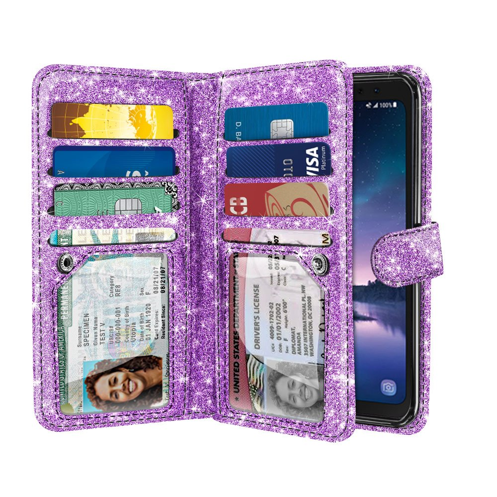 NEXTKIN Case Compatible with Samsung Galaxy S8 ACTIVE, Shiny Glitter Dual Wallet TPU Cover, 2 Pockets Double flap, Multi Card Slots Snap Button Strap For Galaxy S8 ACTIVE G892A 5.8 inch - Light Purple by NEXTKIN
