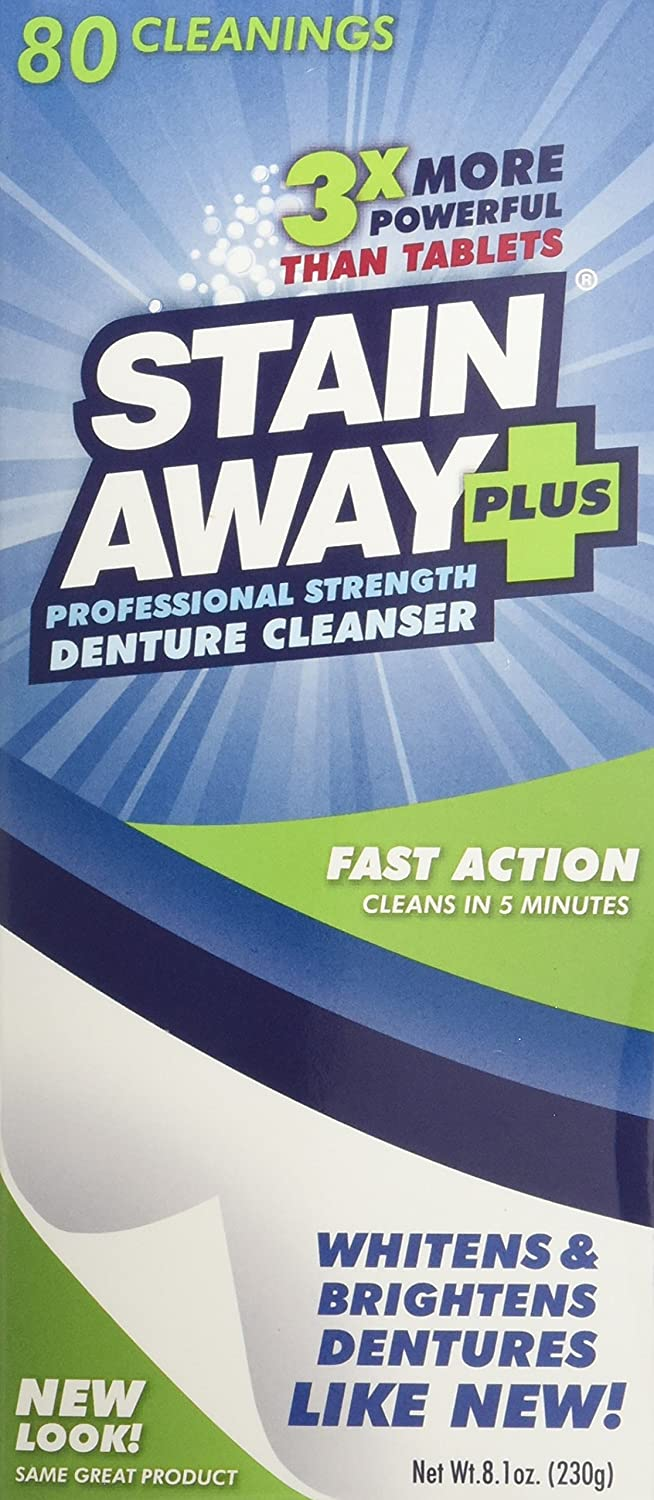 STAIN-AWAY PLUS DENTURE CLEANSER 8.1 OZ Stain Away 83272981024