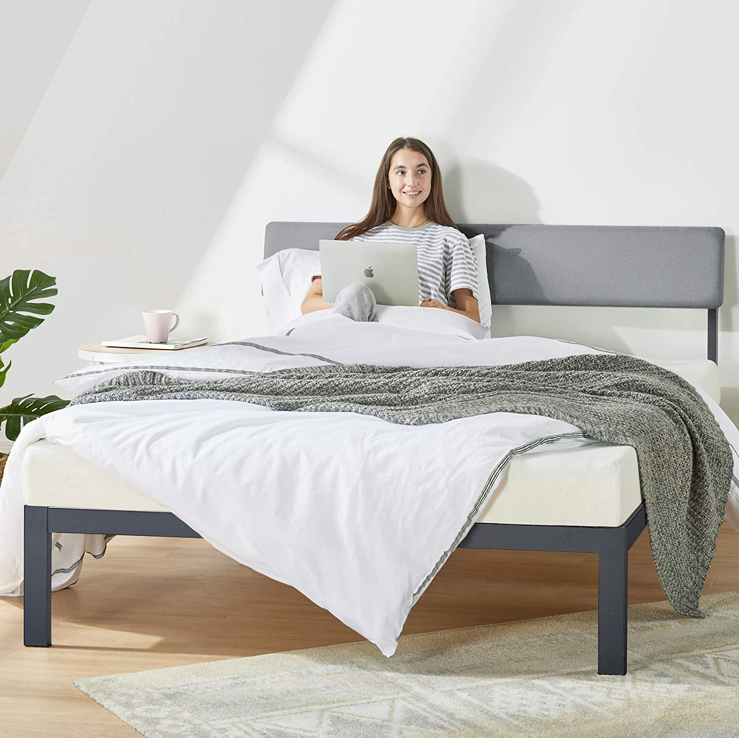Mellow KERA Metal Platform Bed with Angled Upholstered Headboard, Solid Wooden Slats, Easy Assembly, Classic Grey, Queen (BBPB-BKQ)