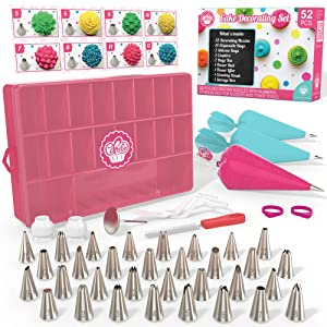 Cakebe 52 pcs Cake Decorating Supplies Kit - Icing Piping bags and Tips Cupcake Decorating Kit with 12 Frosting bags and 32 Numbered Tips - Baking Supplies and Frosting Tools Set for Cupcakes Cookies