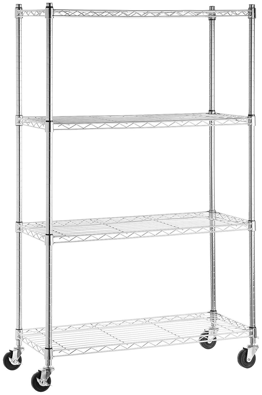 AmazonBasics 4-Shelf Shelving Unit on 3'' Casters, Chrome