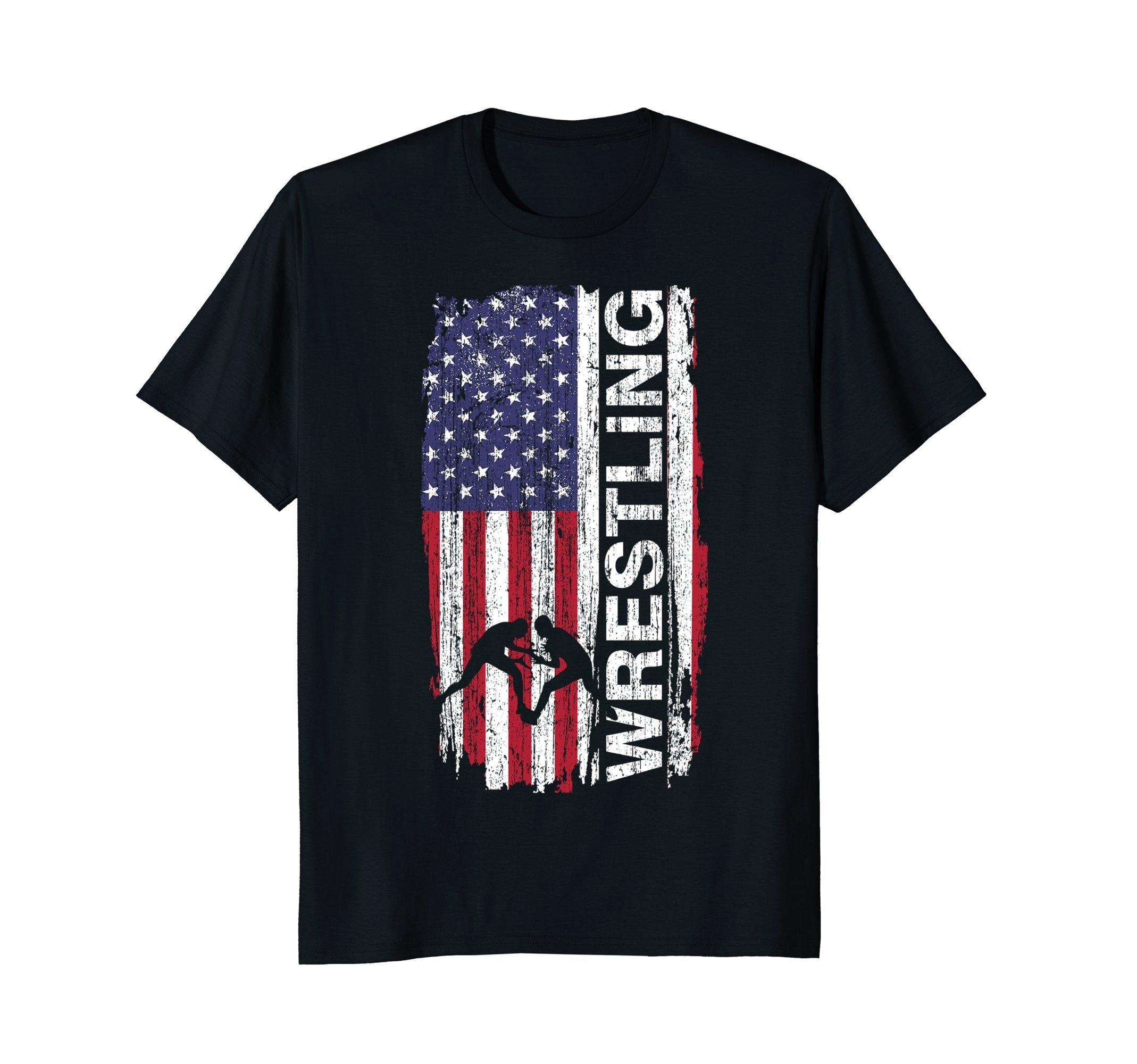 Usa Flag Wrestling T-shirt Gift