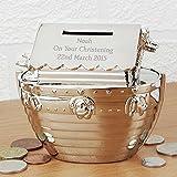 Personalised Silver Noah's Ark Moneybox Christening Present Gift Money Box
