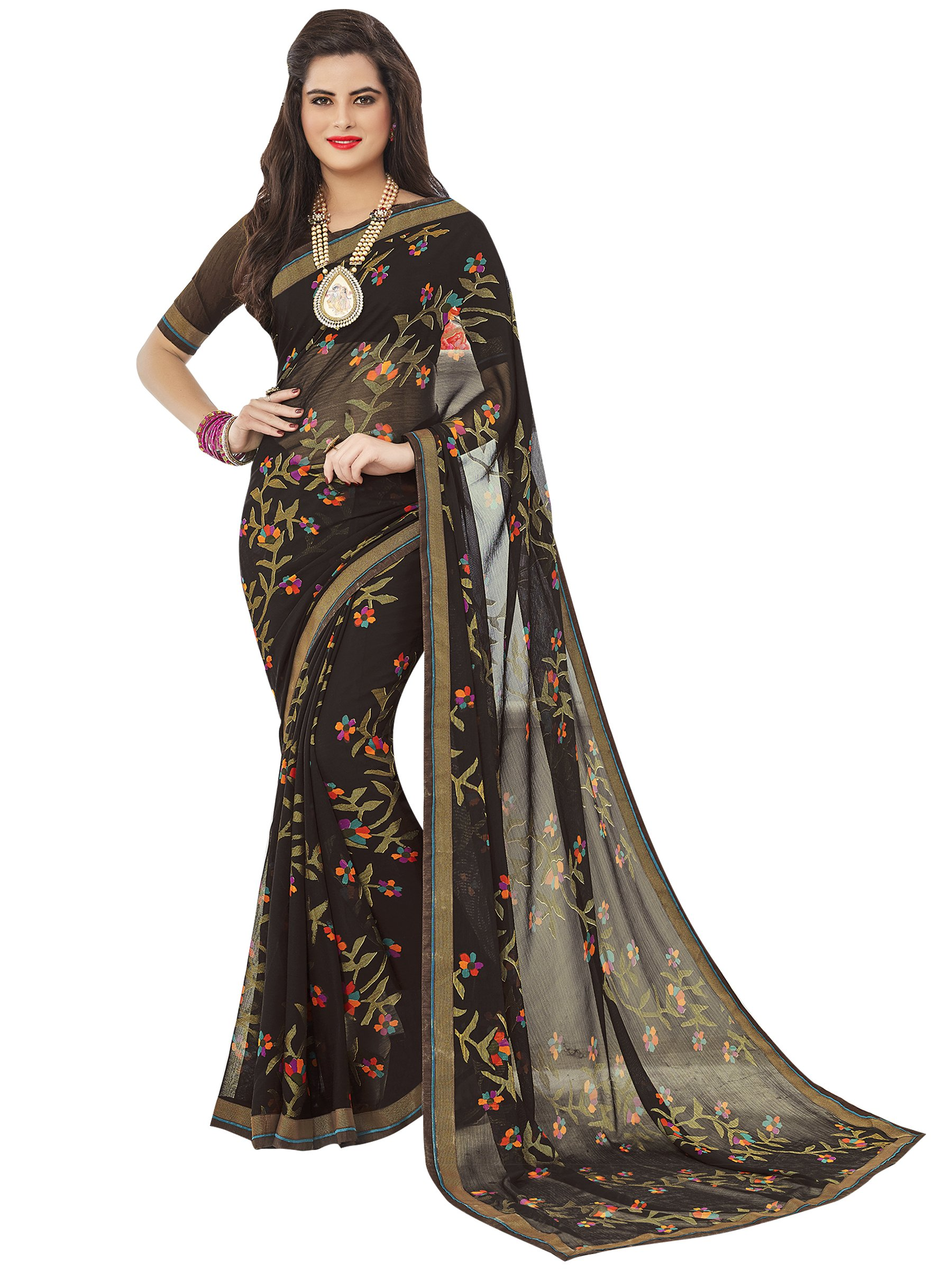 ELINA FASHION Saree Women Brown Chiffon Brasso Work Sarees