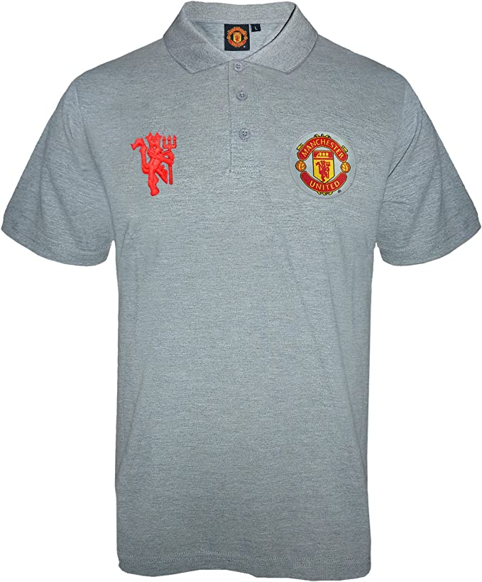 Manchester United Fc Official Football Gift Mens Crest Polo Shirt Grey Large Amazon Co Uk Clothing