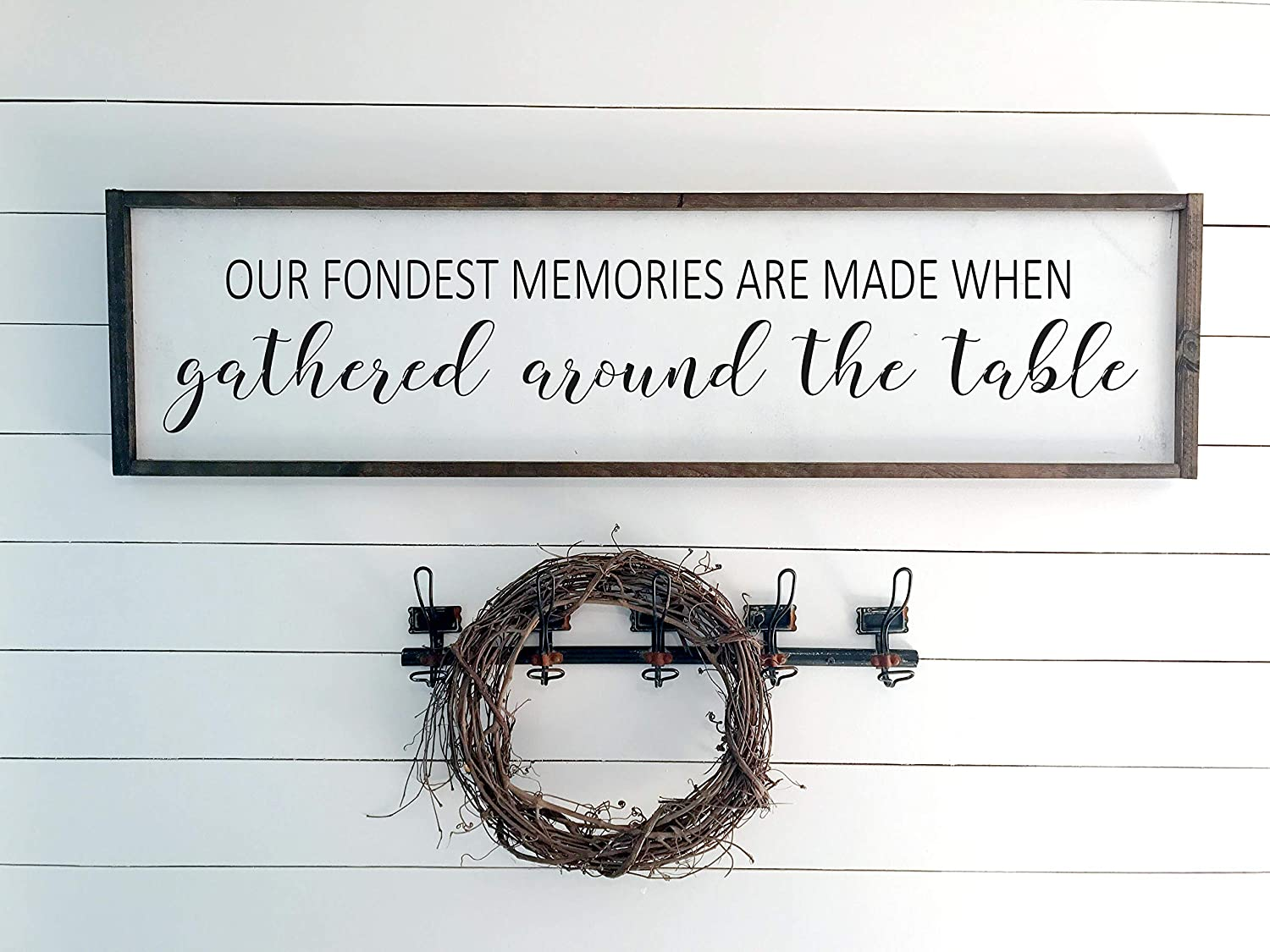Dozili Our Fondest Memories are Made When Gathered Around The Table Sign Rustic Sign Farmhouse Decor Wooden Sign Framed Wood Sign 6