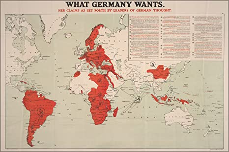 Wwi Germany Map.Amazon Com 16x24 Poster What Germany Wants Map Wwi World War One