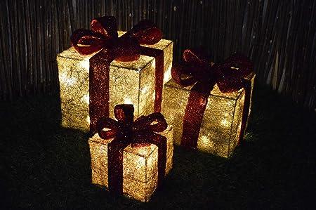 Set of 3 LED Battery Powered Light Up Glitter Sparkle Christmas ...