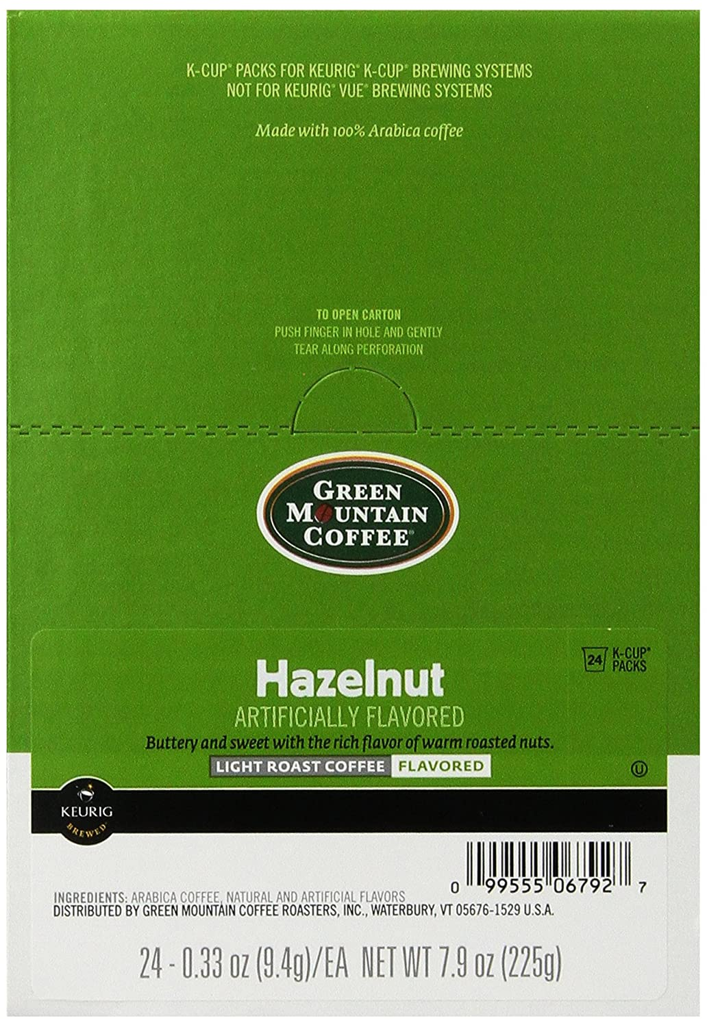 Green Mountain Coffee Roasters 6792CT Hazelnut Coffee K-Cups, 96/carton