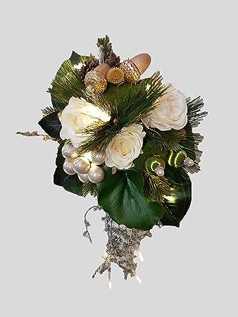 Blumenstrauss künstlich mit LED-Lichterkette Winterstrauß Nr.17
