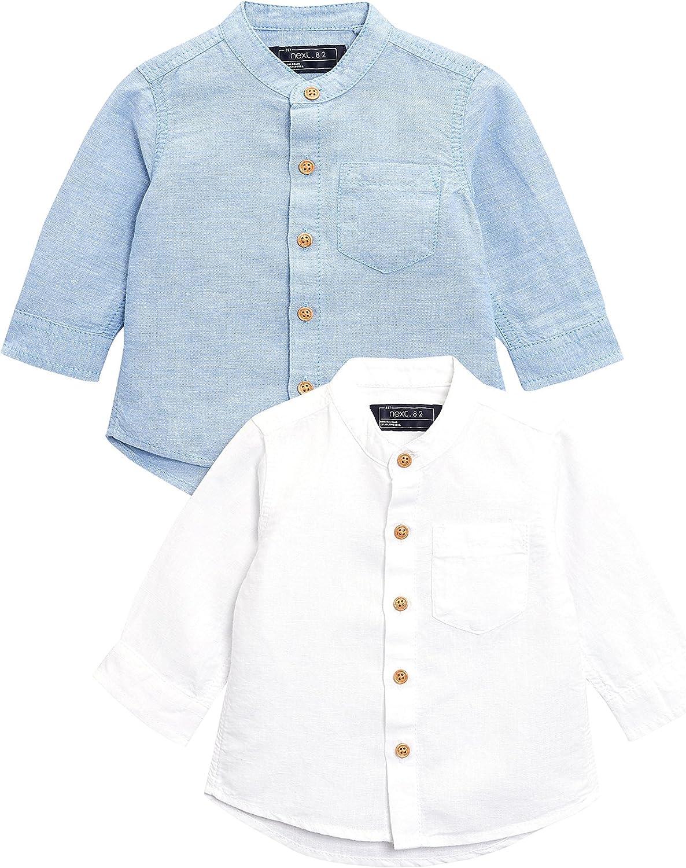 next Niños Pack De Dos Camisas De Mangas Largas Ricas En Lino (3 Meses - 6 Años) Azul/Blanco 5-6 años: Amazon.es: Ropa y accesorios