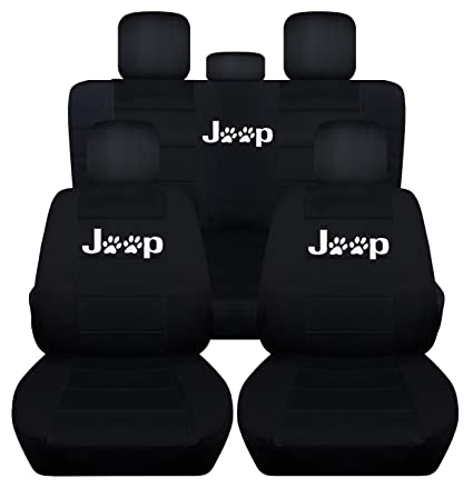 Perfect Fits 2011 To 2018 Jeep Grand Cherokee Black Paw Print Seat Covers Front And  Rear Seat