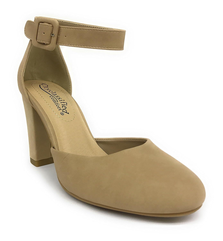 8791086cbc04a Amazon.com | City Classified Kaili Women's Closed Toe Ankle Strap Block Heel  (8 B(M) US, Natural Nubuck) | Pumps