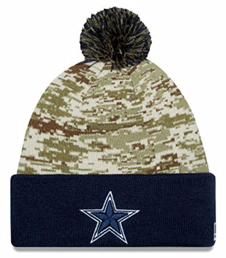 cheap for discount 7fae8 df27d Image Unavailable. Image not available for. Color  Dallas Cowboys New Era  2015 Salute To Service On-Field Pom Knit ...