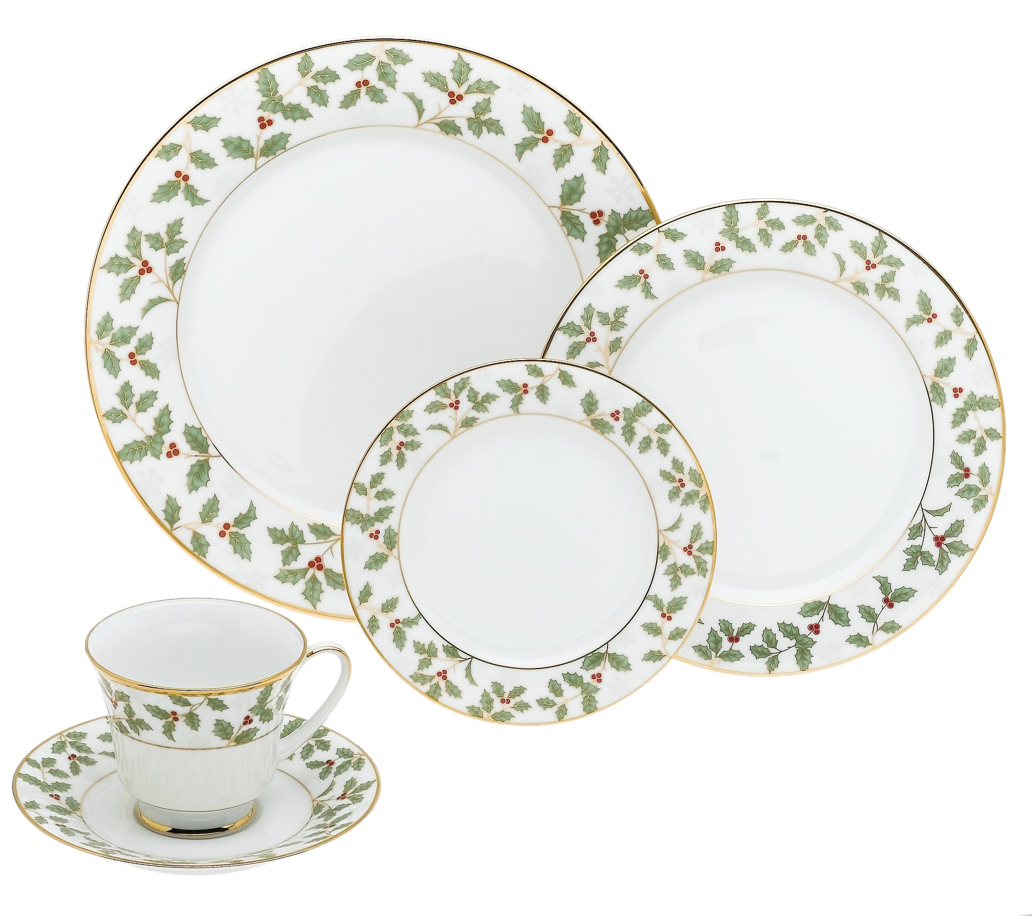 Noritake Holly and Berry Gold 40-Pc. Set-Service for 8 in Green/Red/White - Fine, pure white porcelain Beutifully designed holly leaves decorate the shoulder Complete service for eight included - kitchen-tabletop, kitchen-dining-room, dinnerware-sets - 812X3fuvaAS -