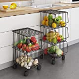 WHIFEA Metal Wire Basket with Wheels and Cover, 3 Tier Stackable Rolling Fruit Basket Utility Rack, Storage Organizer…