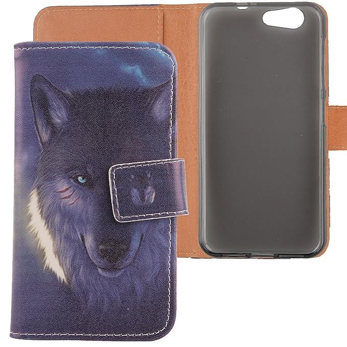 LANKASHI Wolf Design PU Flip Billetera Funda De Carcasa ...