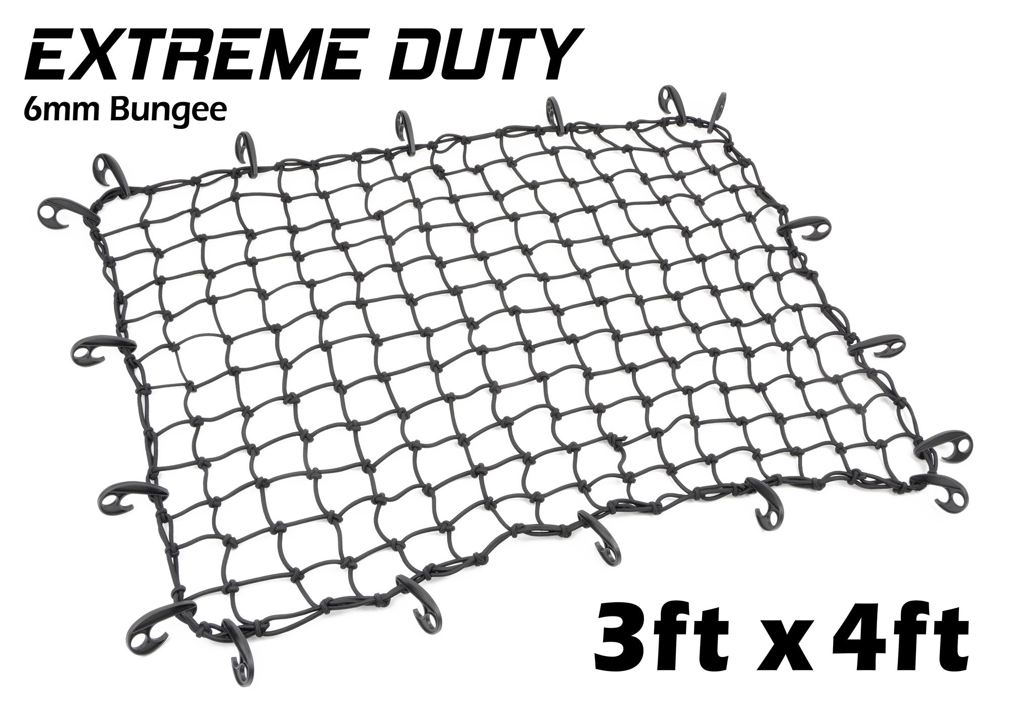 3ft x 4ft PowerTye Mfg EXTREME Duty 6mm Bungee Elastic Cargo Net, Stretches to 54'' x 72'', 18 Large Latch Hooks, Black by Powertye