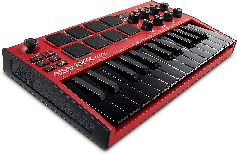 AKAI Professional MPK Mini MK3 Red - Teclado controlador MIDI USB de 25 teclas, 8 drum pads, 8 perillas y software de producción musical, color rojo
