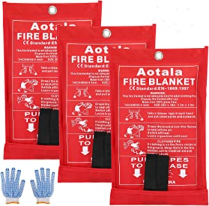 Aotala Fire Blanket Emergency Surival Fire Blankets Fiberglass Flame Retardant Protection and Heat Insulation for Kitchen,Fireplace,Grill,Car,Camping (3 pack)