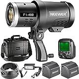 Neewer 400W 2,4G HSS Doppel TTL (i-TTL und e-TTL) Blitzlicht für Canon und Nikon, mit 2,4G Funkauslöser und 2 Stück 3200mAh Hochleistungs-Li-Ionen-Batterie, Bowens Montage F1-400