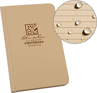 """product image for Rite in the Rain Weatherproof Hard Cover Notebook, 4 1/4"""" x 6 3/4"""", Tan Cover, Universal Pattern (No. 970TF-M)"""