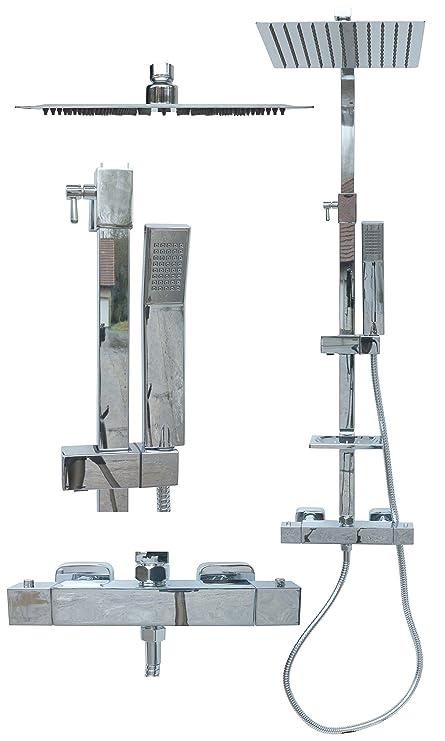 Termostato ducha Set – Sistema de ducha Ducha Ducha grifo Acero Inoxidable Lluvia Ducha Alcachofa extensible
