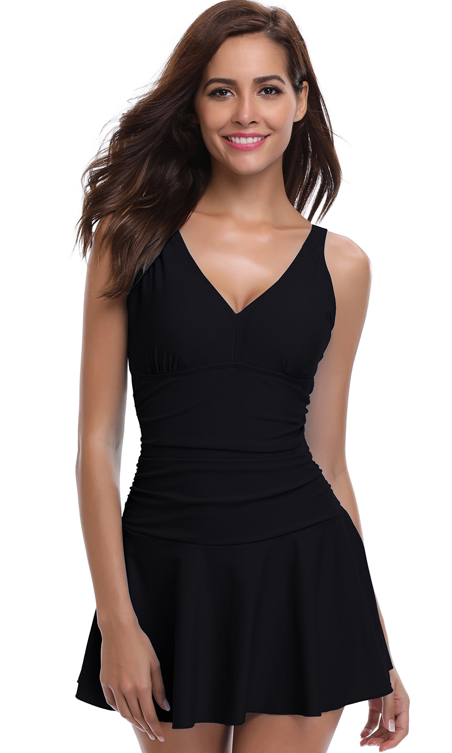 SHEKINI Women's One Piece Skirt Swimsuit Ruched Retro Swimdress Bathing Suit (Small, Manhattan Black)