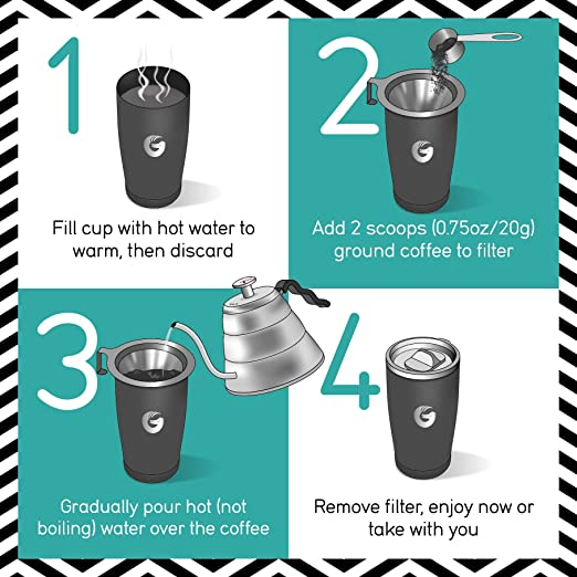 Amazon personal coffee brewing travel mug vacuum insulated amazon personal coffee brewing travel mug vacuum insulated stainless steel pour over maker with locking lid 17floz by coffee gator goblets fandeluxe Image collections