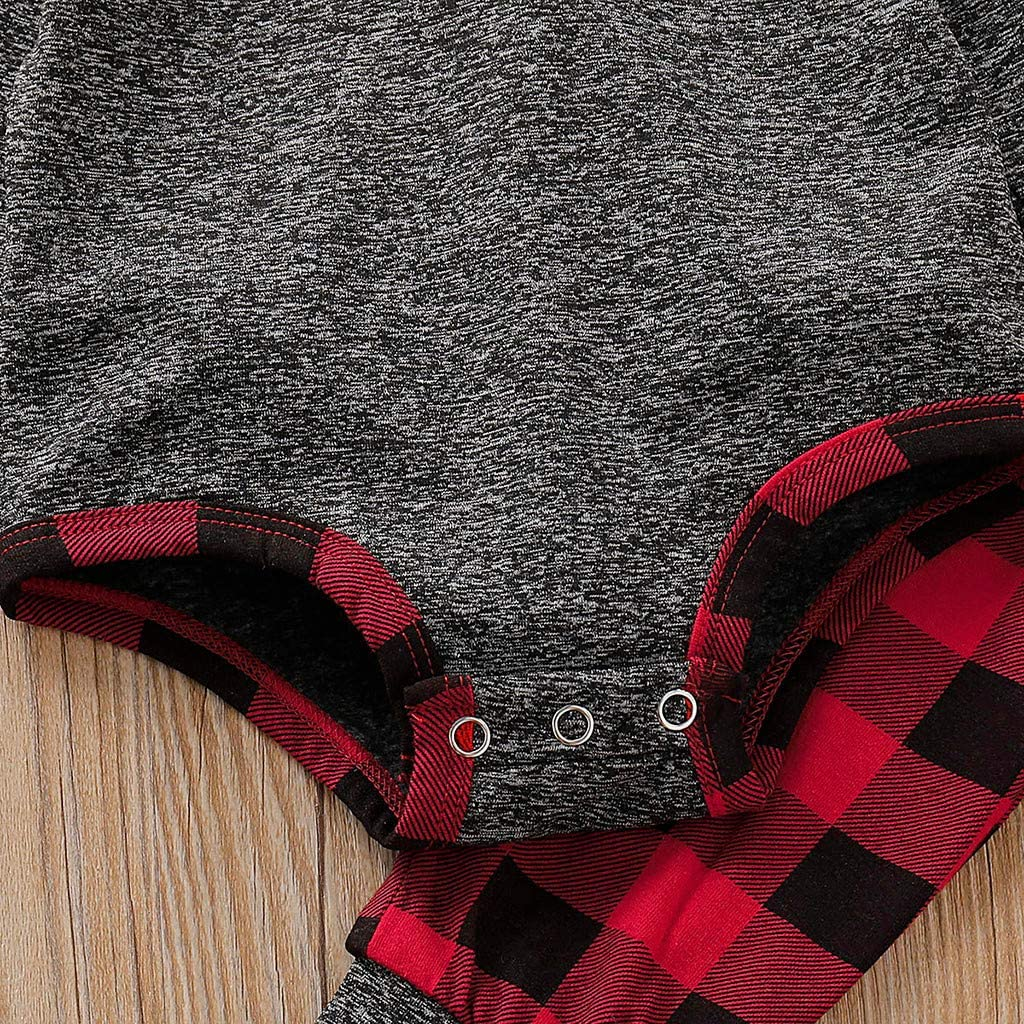 Unisex Infant Baby Clothes Newborn Boy Girl Hooded Romper Sweatshirt Bodysuit Plaid Pants Sweatsuit Outfits
