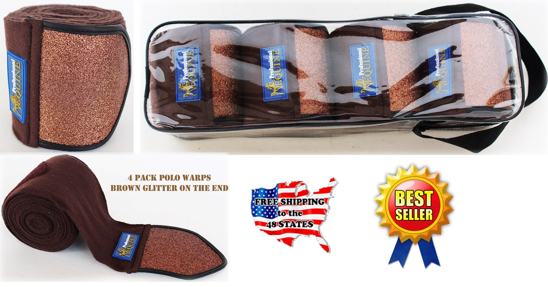 Professional Equine Horse Tack Grooming Leg Set of 4 Polo Wrap Wraps Fleece Glitter Brown 95F05BR
