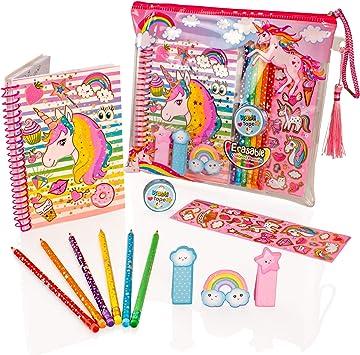 Style Girlz Deluxe Unicorn Stationery Set - Girls Coloring Pencils Cuaderno de Diario Kit de Arte de Estuche de lápices: Amazon.es: Juguetes y juegos