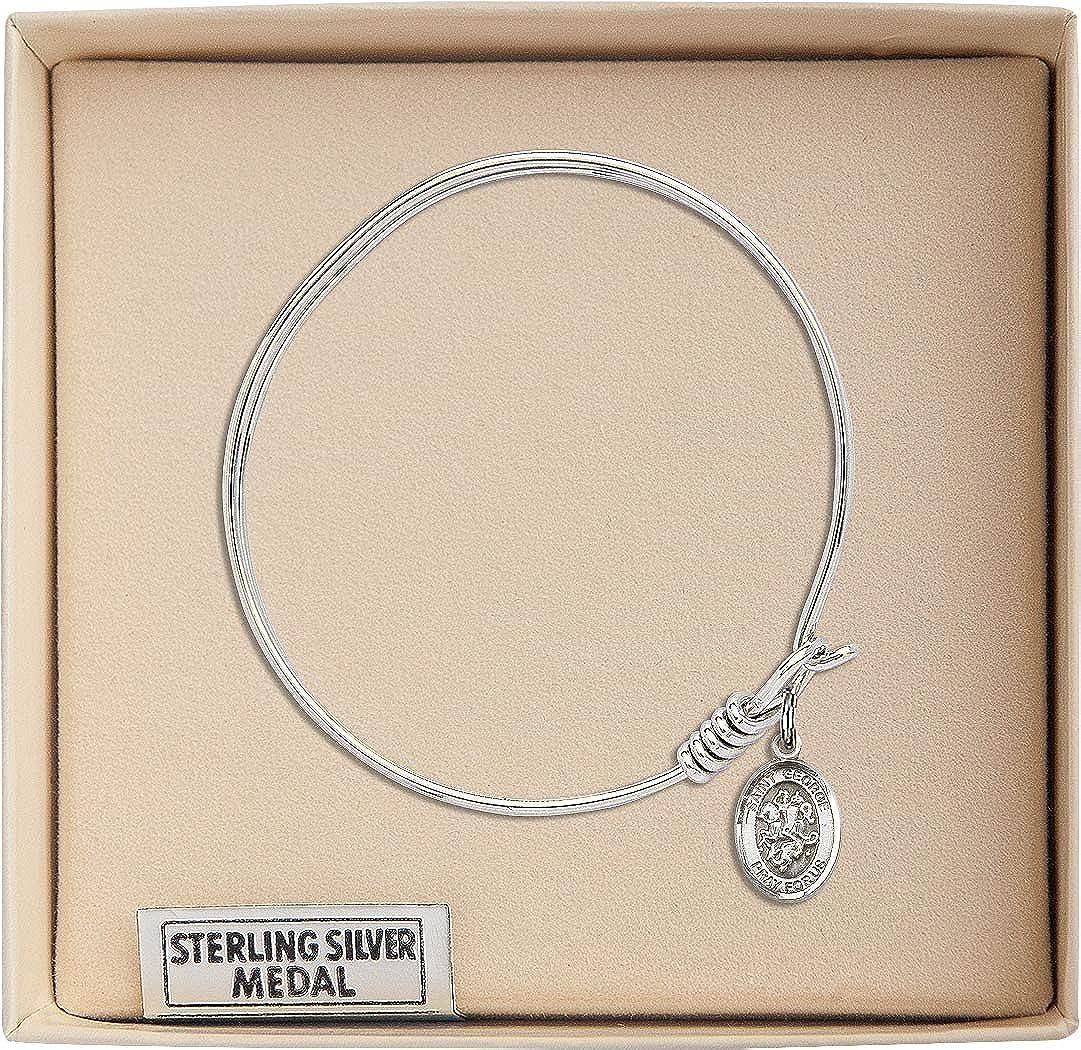 Bonyak Jewelry Round Eye Hook Bangle Bracelet w//St George in Sterling Silver