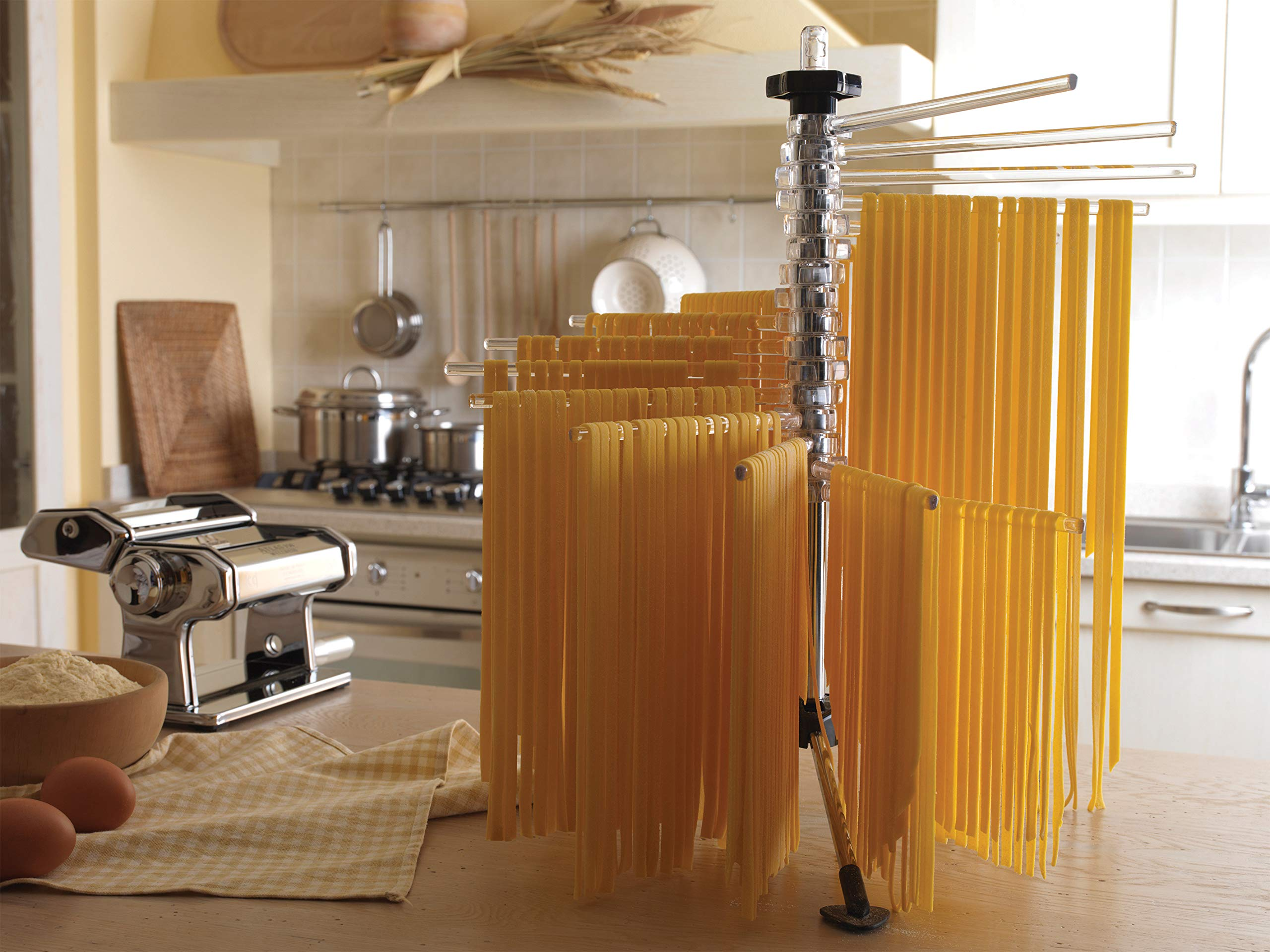 Marcato 8329RD Atlas Pasta Drying Rack, Tacapasta, Made in Italy, Steel and Polycarbonate, Collapsible, Red by Marcato