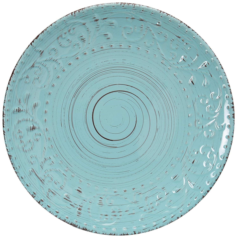 Elama ELM Malibu Waves 16-Piece Dinnerware Set in Turquoise, 16pc