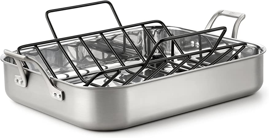 Calphalon 1833931 AccuCore Stainless Steel Roaster with Rack, 16-Inch