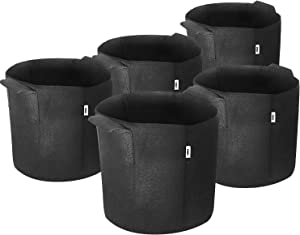 iPower 7-Gallon 5-Pack Grow Bags Fabric Aeration Pots Container with Strap Handles for Nursery Garden and Planting(Black)