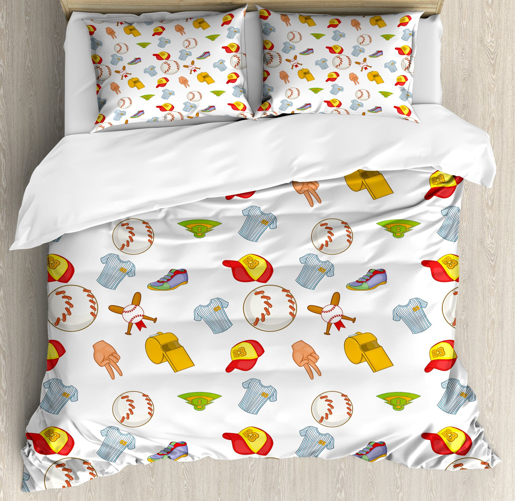 Baseball Duvet Cover Set Queen Size by Lunarable, Colorful Cartoon of Softball Sport Icons Professional Game Play League Tournament, Decorative 3 Piece Bedding Set with 2 Pillow Shams, Multicolor
