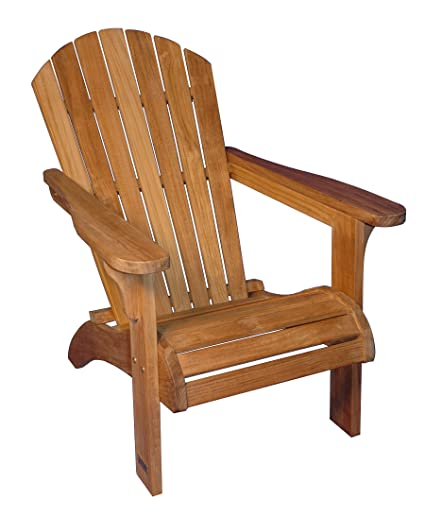 Amazoncom Adirondack Chair Solid Teak Pair Garden Outdoor