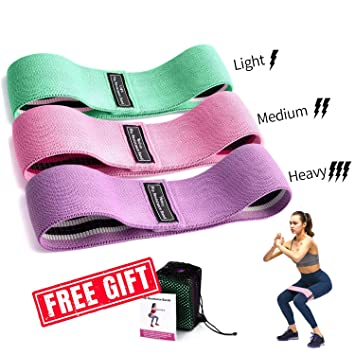 Hysam Resistance Loop Exercise Bands for Legs and Butt Hip Yoga Band Fitness Sports Stretch Anti Slip Elastic Physical Therapy Mini Training Equipment ...